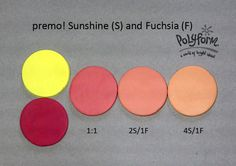 Oh, I love a good peachy red! And premo! Sunshine and Fuchsia mixes came through for me! As a matter of fact, I'm looking at the walls in my office and they appear to be VERY close to the 2S/1F mix! If I had to really get solid with it, I'd guess 3S/1F would be