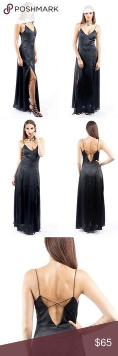 BLACK LONG SLIP DRESS Black Deep V Neck Sleeveless  Side Split lace detail Open criss cross back Style Link Miami Dresses