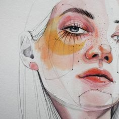 Image about girl in Art & Drawings🎨 by kylie on We Heart It Art And Illustration, Watercolor Portraits, Watercolor Art, Watercolor Landscape, Watercolor Flowers, Art Sketches, Art Drawings, Drawing Art, Art Aquarelle