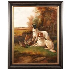 A Pair of Robert Cleminson Sporting Dog Paintings, Oil on Canvas - Remember animal art for your School of Flaunt study is a must!