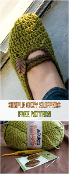 Simple Cozy Slippers Free Pattern #slippers #yarns #crochet #hook #green