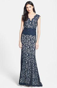 Womens 1920 Downton Abbey Inspired Clothing  -Tadashi Shoji V-Neck Lace Gown $398.00