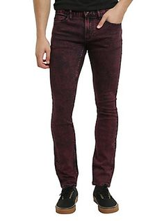 XXX RUDE Red Overdye Super Skinny Jeans,