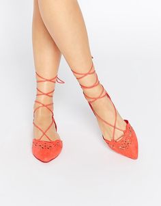 ALDO Harmony Peach Laser Cut Ghillie Lace Up Flat Shoes
