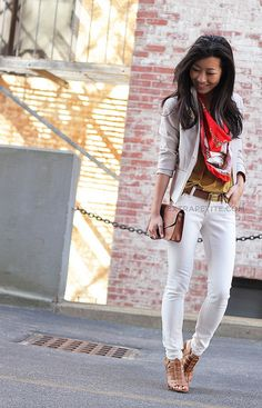 White jeans, tan/gold shirt and scarf — whitejeans5 by PetiteAsianGirl, via Flickr