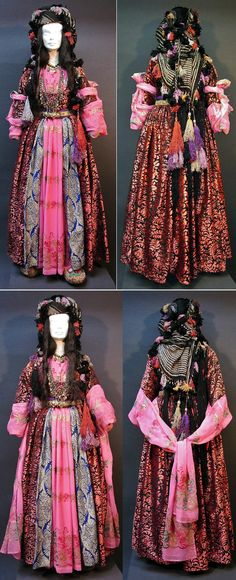 How to wear the 'sleeve extensions' of the costume from Yüksekova (70 km east of Hakkâri town).  Kurdish, fashion of the 1970-1990 period.  The sleeves of the inner gown (the pink one) have long extensions; they can be tied up on the upper arms (pictures on top), hang loose (bottom left) or tied together at the back.  (Kavak Costume Collection-Antwerpen/Belgium).