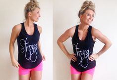 STRONG TANK now available for PRE-SALE until Friday, May 1st! Can't wait to see you rockin this tank in the gym, the beach, or under a cute blazer! #gymtostreet #strong #aabikinibody