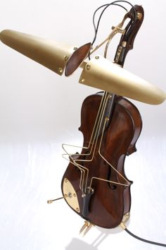 lamp made from an old violin