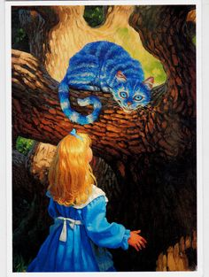 RARE GREG HILDEBRANDT Alice in Wonderland Cheshire cat modern postcard | eBay