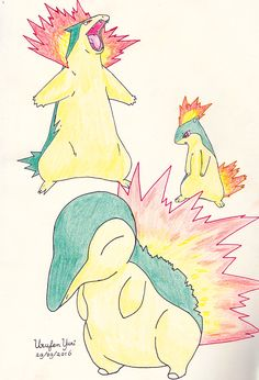 Pokemon: Cyndaquil. Quilava and Typhlosion