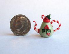 Handmade Miniature CHRISTMAS BERRIES TEAPOT - by C. Rohal #CRohal