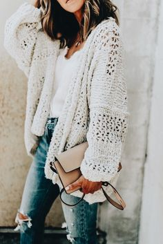 Oversized sweater Cardigan chunky knits outfits for fall and winter boyfriend st. - Oversized sweater Cardigan chunky knits outfits for fall and winter boyfriend style long cardigan for women Source by - Mode Outfits, Casual Outfits, Fashion Outfits, Fashion Trends, Casual Jeans, Fasion, Fashion Styles, Fashion Clothes, Fashion News