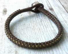 Mens Leather Bracelet Mens Jewelry Guys Bracelet by urbanlanding
