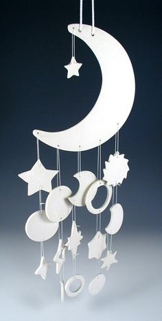 Cool Porcelain Moon Chime freemanceramics Ceramics Pottery on ArtFire – Famous Last Words Diy Tumblr, Clay Projects, Clay Crafts, Ceramic Pottery, Ceramic Art, Mobiles, Ramadan Decorations, Ramadan Crafts, Scroll Saw Patterns
