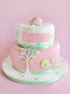 Cute pastel birdy cake