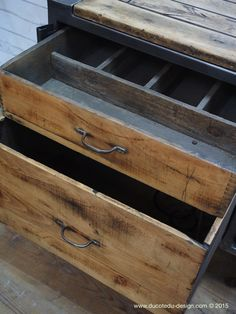 Grand etabli industriel bureau metal et bois Steel furniture