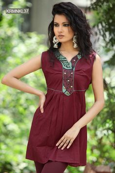 Beautiful Burgundy Cotton Kurti