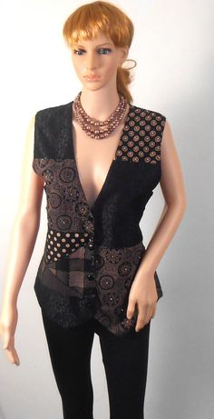Womens Black and Brown Casual  Bohemian Vest   by VintageElations