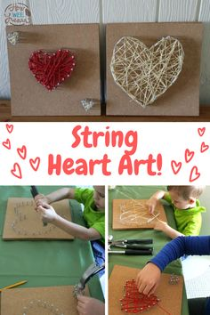 Use a hammer and some nails to create this beautiful child-made heart art! Kids as young as 3 years old can create this fun Valentine's day art project and it is great for much older children as well. This heart craft also makes a great homemade gift for Valentine's day!