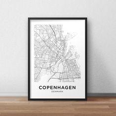 Copenhagen Map Print, Printable Copenhagen Map, Copenhagen City Map, Copenhagen Street Map, Copenhagen Poster, Wall Art, Black And White City Map, Download, Digital File