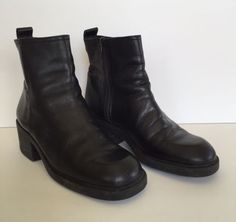 Nine-West-Ossie-Black-Leather-Heel-Boots-Size-9M-Womens-Shoes-Round-Toe