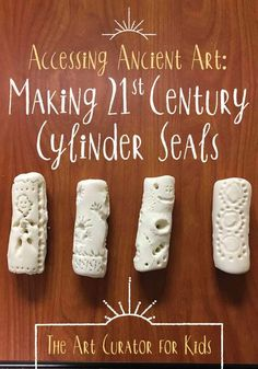 TOG Accessing Ancient Art: Making Century Cylinder Seals - Learn about the history of cylinder seals from Sumer in Ancient Mesopotamia and make your own in this fun, hands-on art lesson. History Activities, Teaching History, Teaching Art, Ancient Egypt Activities, Kid Activities, Classroom Activities, Teaching Ideas, History For Kids, Art History