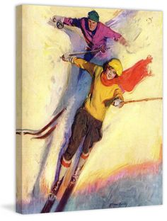 Downhill Skiing by McClelland Barclay Painting Print on Canvas