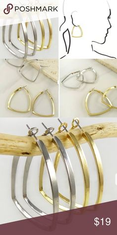 Hoop Earrings Huge Trend for 2017 Color Choice Hoops are Trending big time in 2017 and these are Stunning! They measure 2 inches long in a sleek Triangular design. Choose Gold Tone or Silver Tone. Gift Box Included. Jewelry Earrings