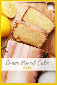 A vegan Pound Cake that is so rich and decadent no one will believe it's vegan. Topped with a lemony glaze for a delightful sweet morning or midday snack. Vegan Treats, Vegan Foods, Cake Vegan, Vegan Lemon Cake, Food Porn, Pound Cake Recipes, Vegan Pound Cake Recipe, Vegan Dessert Recipes, Vegan Recipes For Kids