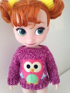 Disney Animator Dolls Clothes - Pink Owl Jumper - Sweater by SherbetLemoni on Etsy