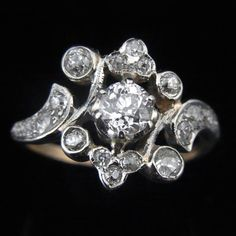 Edwardian Old European Cut Diamonds 14k Gold by sohojewelers