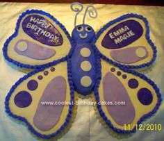 Homemade Butterfly Birthday Cake Idea: My friend's daughter requested a butterfly cake for her 7th birthday. I got the Butterfly Birthday Cake Idea from this website but tweaked it a little
