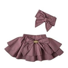 ***LIMITED EDITION*** Girls Isabella 2 Pc Set - Baby Girl Plum Polka Dot Ruffle Bow Skirt & Headband