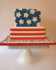 Patriotic Wedding Cake....Hmmm...maybe this should be my cake...afterall, we are getting married on flag day lol
