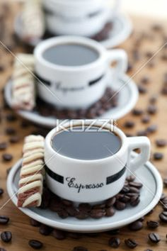 coffee cup cookies | Close-Up Shot Of Coffee Cups With Beans And Cookies - Free Stock ...