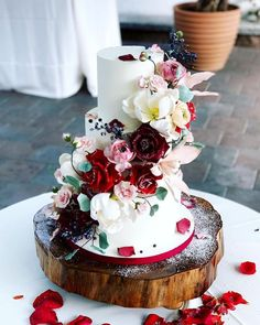 42 Beautiful Wedding Cakes The Best From Pinterest ❤ beautiful wedding cakes flower with red finespuncakess #weddingforward #wedding #bride