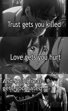 Shingeki No Kyojin // Attack on Titan & Anime Quotes The post Shingeki No Kyojin // Attack on Titan Sad Anime Quotes, Manga Quotes, Mood Quotes, True Quotes, Tokyo Ghoul Quotes, Attack On Titan Anime, Dark Quotes, Les Sentiments, Badass Quotes