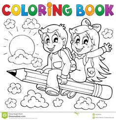 Cartoon of Black and White Happy School Children Flying on a Pencil - Royalty Free Vector Clipart by visekart School Coloring Pages, Colouring Pages, Coloring Books, Writing Clipart, Free Vector Clipart, Kids Background, Classroom Decor Themes, Clip Art Pictures, School Clipart