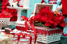 Cesta de flores da festa Chapeuzinho Vermelho