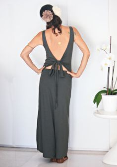 Open back maxi dress Olive green maxi dress by Picarona on Etsy