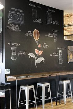 Manual Coffee Brewing Methods chalk board wall – long shelf for the option of standing or sitting while working My Coffee Shop, Coffee Shop Design, Coffee Cafe, Iced Coffee, Hot Coffee, Bunn Coffee, Aeropress Coffee, Coffee Enema, Ninja Coffee