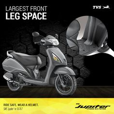 TVS Jupiter offers the largest Leg Space for Zyada comfort.