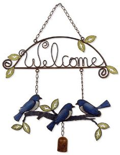 Sunset Vista Designs Garden Essentials Birds of a Feather Birdies Welcome Sign, 18-Inch Long by Sunset Vista. $15.79. Greet visitors with a friendly Welcome sign. Makes a great housewarming or hostess gift. Approximately 18-Inch long and 15-Inch wide. Sunset Vista Designs Garden Essentials has everything you need to decorate indoors or out, also makes a great gift. Easy to hang metal sign is decorated with a trio of blue birds sitting on a branch accented with leaves and a...