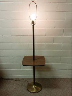 mid century modern table floor lamp wood walnut light vintage floorlamp