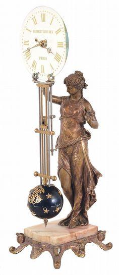 Robert Houdin, Paris, swinging clock with glass dial, the gi