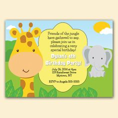 Giraffe and Elephant Jungle Birthday Party Baby Shower Invitation Digital Personalized Party Invite - JPEG file /High resolution (7)