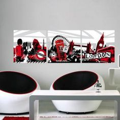 London on pinterest union jack london and toile for Chambre noir et rouge