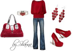 """""""dark red bubble sleeve bow top"""" by shauna-rogers on Polyvore"""