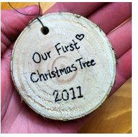 """DIY rustic """"Our First Christmas Tree"""" ornaments. A slice off the bottom of your first christmas tree. Diy Christmas Ornaments, Holiday Crafts, Holiday Fun, Christmas Decorations, Couple Ornaments Diy, Family Ornament, Thanksgiving Holiday, Holiday Tree, Homemade Christmas"""