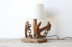Folk Art Carved Anchor & Chain Lamp by OceanSwept on Etsy, $115.00